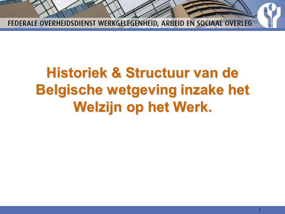 Historiek & Structuur van de Belgische wetgeving inzake het Welzijn op het Werk. 2