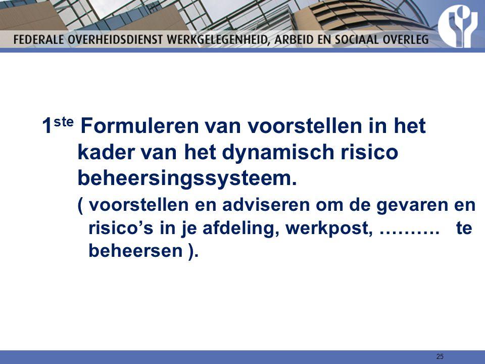 1 ste Formuleren van voorstellen in het kader van het dynamisch risico beheersingssysteem. ( voorstellen en adviseren om de gevaren en risico's in je