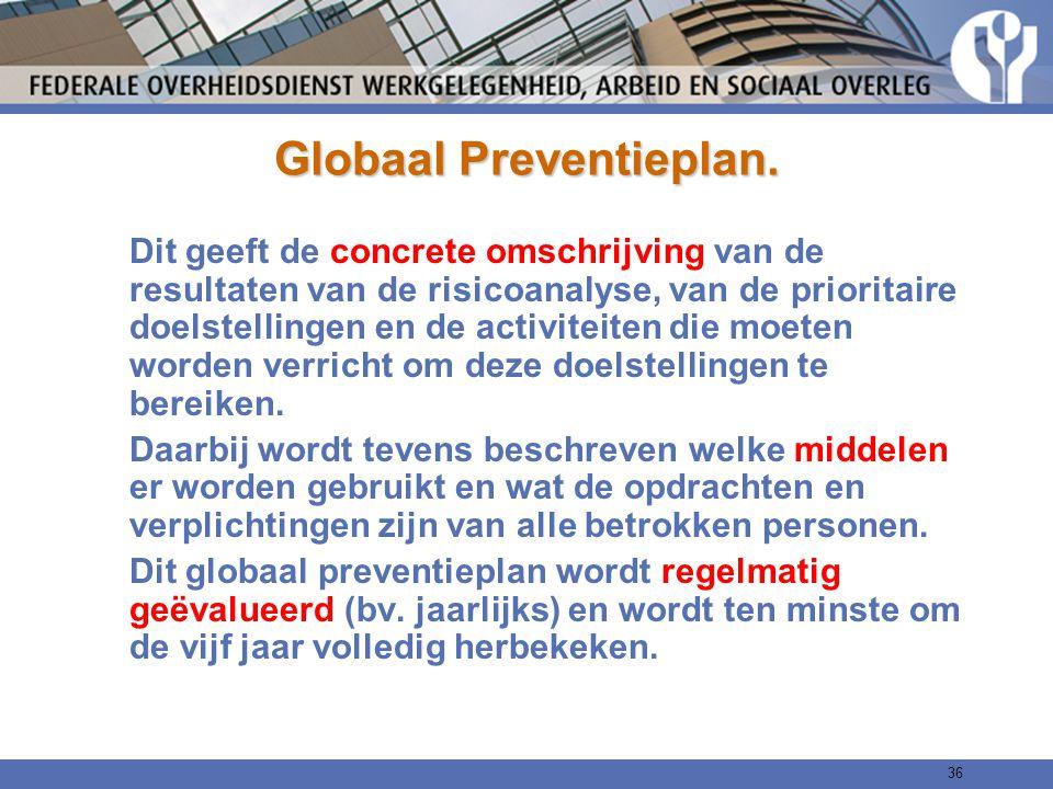 Globaal Preventieplan. Dit geeft de concrete omschrijving van de resultaten van de risicoanalyse, van de prioritaire doelstellingen en de activiteiten