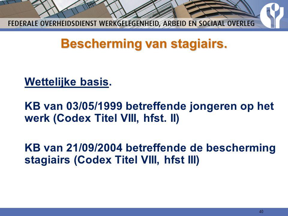 Bescherming van stagiairs. Wettelijke basis. KB van 03/05/1999 betreffende jongeren op het werk (Codex Titel VIII, hfst. II) KB van 21/09/2004 betreff
