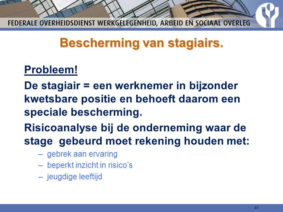 Bescherming van stagiairs. Probleem! De stagiair = een werknemer in bijzonder kwetsbare positie en behoeft daarom een speciale bescherming. Risicoanal