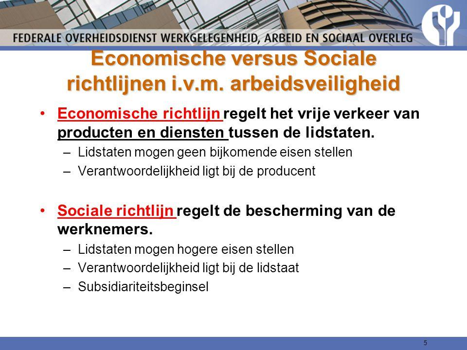 Economische versus Sociale richtlijnen i.v.m. arbeidsveiligheid Economische richtlijn regelt het vrije verkeer van producten en diensten tussen de lid