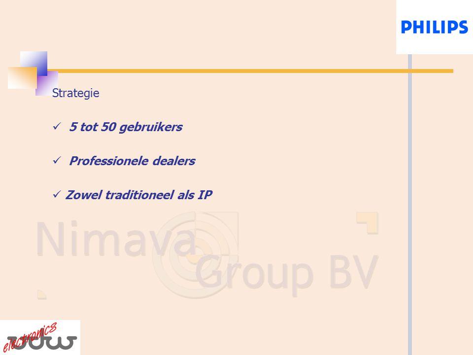 Strategie 5 tot 50 gebruikers Professionele dealers Zowel traditioneel als IP