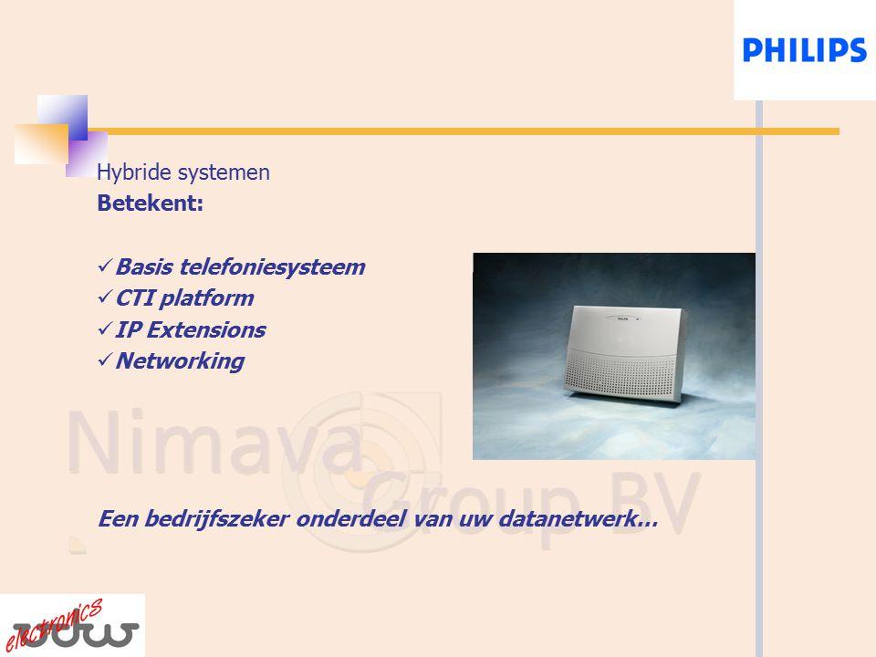 Hybride systemen Betekent: Basis telefoniesysteem CTI platform IP Extensions Networking Een bedrijfszeker onderdeel van uw datanetwerk…
