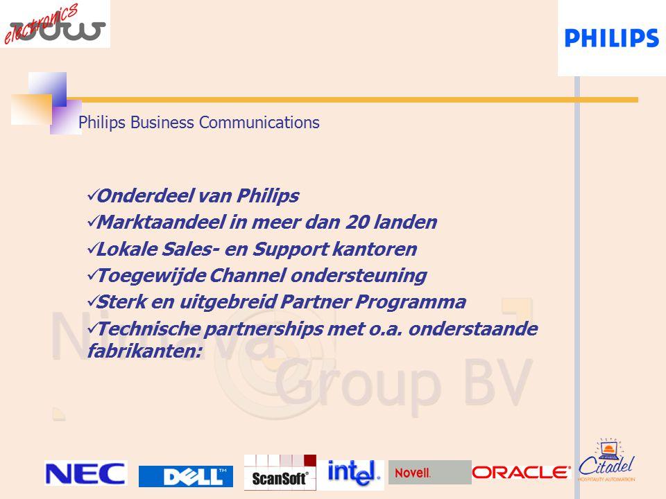 Philips Business Communications Onderdeel van Philips Marktaandeel in meer dan 20 landen Lokale Sales- en Support kantoren Toegewijde Channel ondersteuning Sterk en uitgebreid Partner Programma Technische partnerships met o.a.