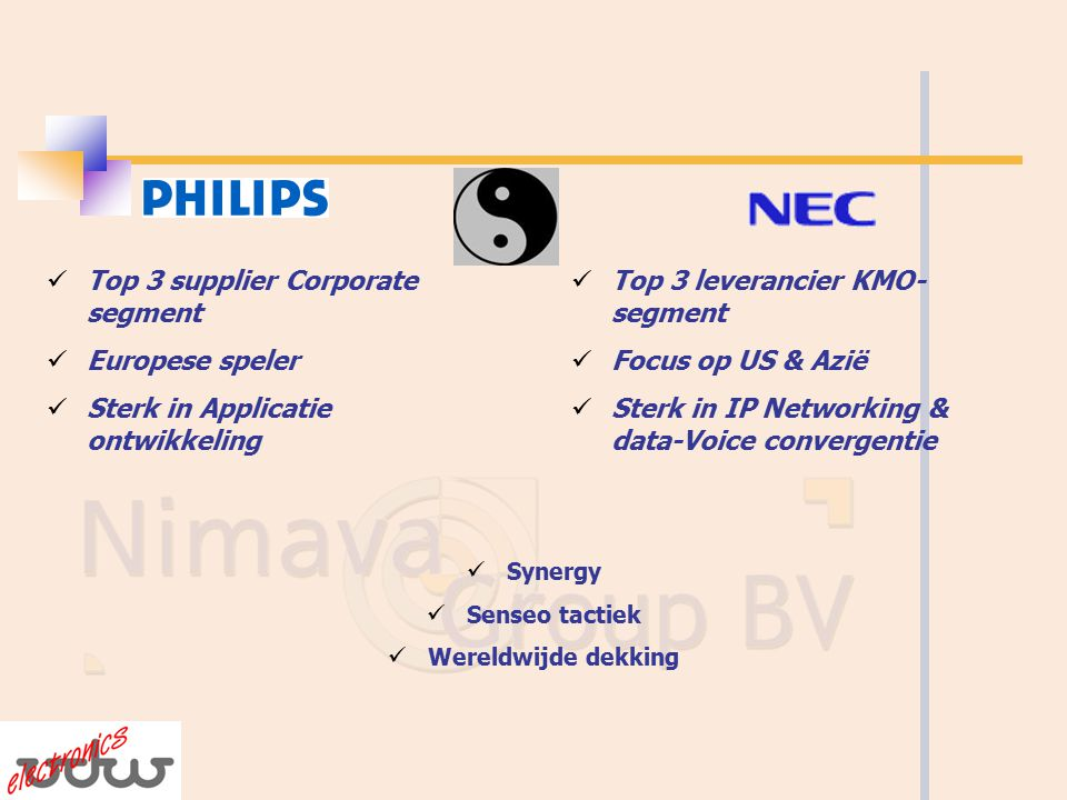 Top 3 leverancier KMO- segment Focus op US & Azië Sterk in IP Networking & data-Voice convergentie Top 3 supplier Corporate segment Europese speler Sterk in Applicatie ontwikkeling Synergy Senseo tactiek Wereldwijde dekking