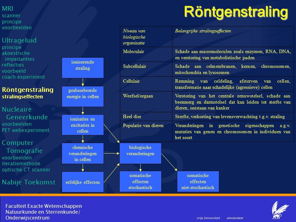 Faculteit Exacte Wetenschappen Natuurkunde en Sterrenkunde/ Onderwijscentrum Röntgenstraling ioniserende straling geabsorbeerde energie in cellen ioni