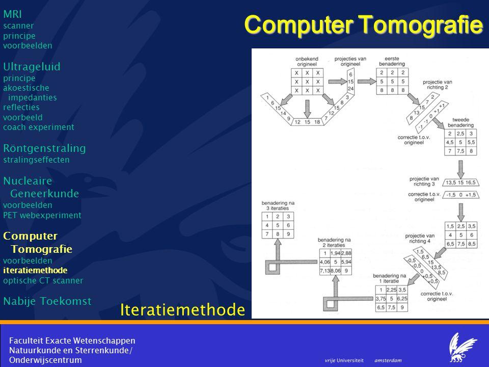 Faculteit Exacte Wetenschappen Natuurkunde en Sterrenkunde/ Onderwijscentrum Computer Tomografie Iteratiemethode MRI scanner principe voorbeelden Ultr