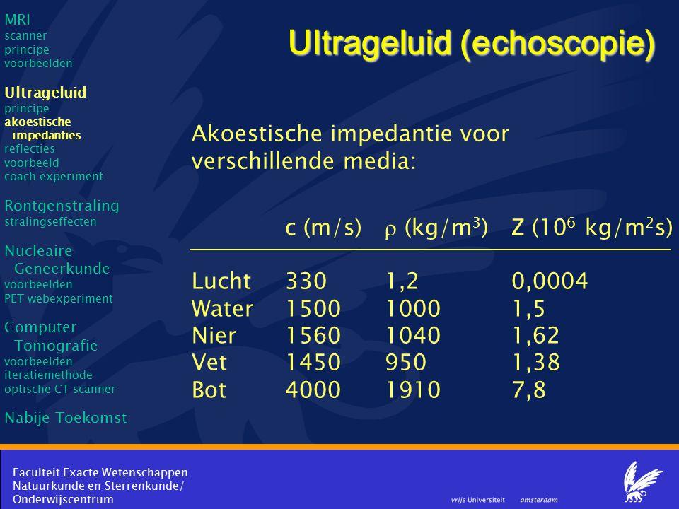Faculteit Exacte Wetenschappen Natuurkunde en Sterrenkunde/ Onderwijscentrum Ultrageluid (echoscopie) Akoestische impedantie voor verschillende media: