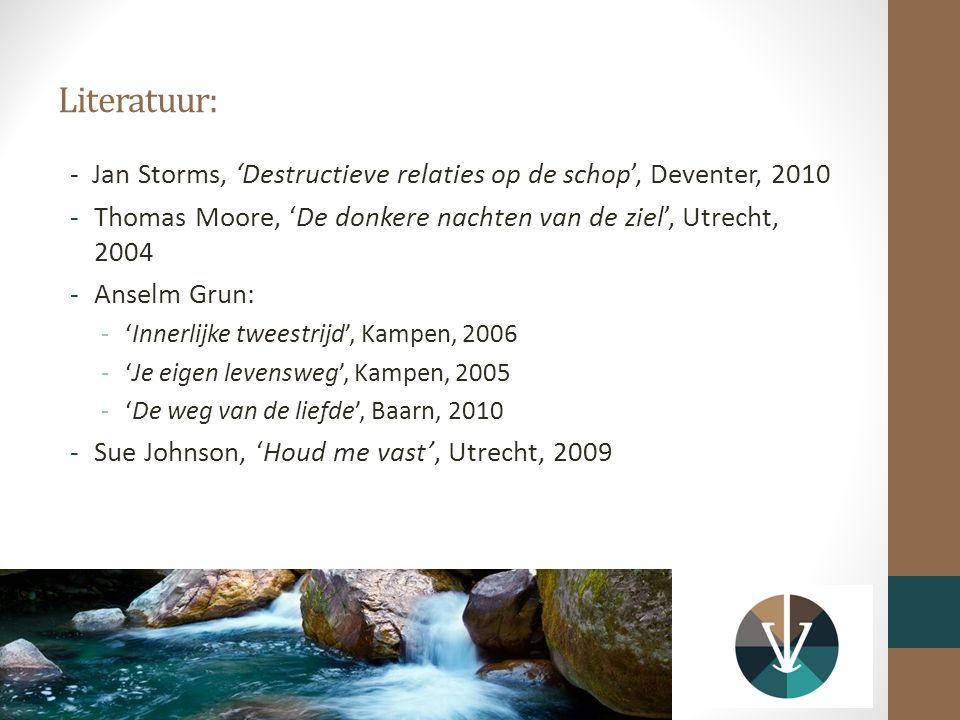 Literatuur: - Jan Storms, 'Destructieve relaties op de schop', Deventer, 2010 -Thomas Moore, 'De donkere nachten van de ziel', Utrecht, 2004 -Anselm Grun: -'Innerlijke tweestrijd', Kampen, 2006 -'Je eigen levensweg', Kampen, 2005 -'De weg van de liefde', Baarn, 2010 -Sue Johnson, 'Houd me vast', Utrecht, 2009
