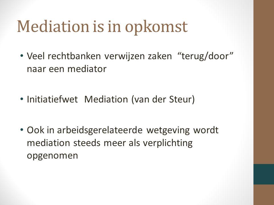 Mediation is in opkomst Veel rechtbanken verwijzen zaken terug/door naar een mediator Initiatiefwet Mediation (van der Steur) Ook in arbeidsgerelateerde wetgeving wordt mediation steeds meer als verplichting opgenomen