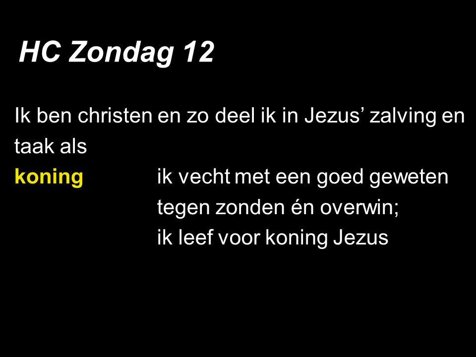 Ik ben christen en zo deel ik in Jezus' zalving en taak als koningik vecht met een goed geweten tegen zonden én overwin; ik leef voor koning Jezus HC Zondag 12