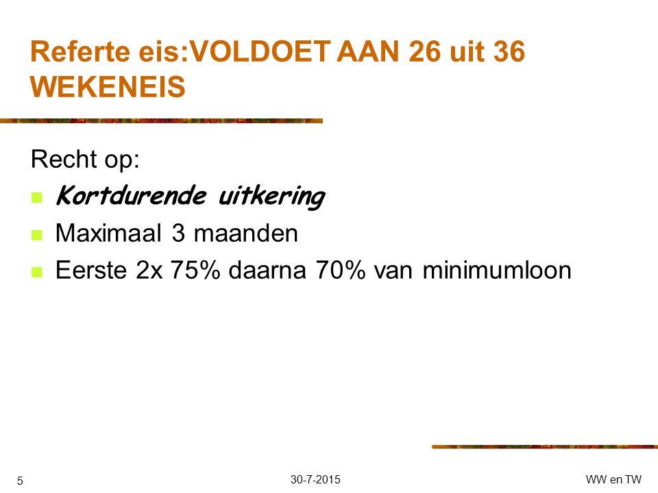 30-7-2015WW en TW 5 Referte eis:VOLDOET AAN 26 uit 36 WEKENEIS Recht op: Kortdurende uitkering Maximaal 3 maanden Eerste 2x 75% daarna 70% van minimumloon