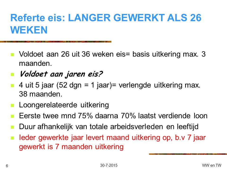 30-7-2015WW en TW 5 Referte eis:VOLDOET AAN 26 uit 36 WEKENEIS Recht op: Kortdurende uitkering Maximaal 3 maanden Eerste 2x 75% daarna 70% van minimum