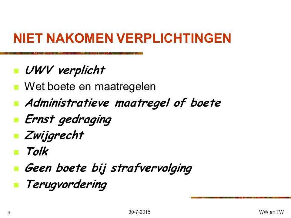 30-7-2015WW en TW 8 VERPLICHTINGEN Zie ook voorwaarden Uiterlijk 1 e dag van de werkloosheid inschrijven UWB- WB/ www. Werk.nl Niet verwijtbaar Niet m