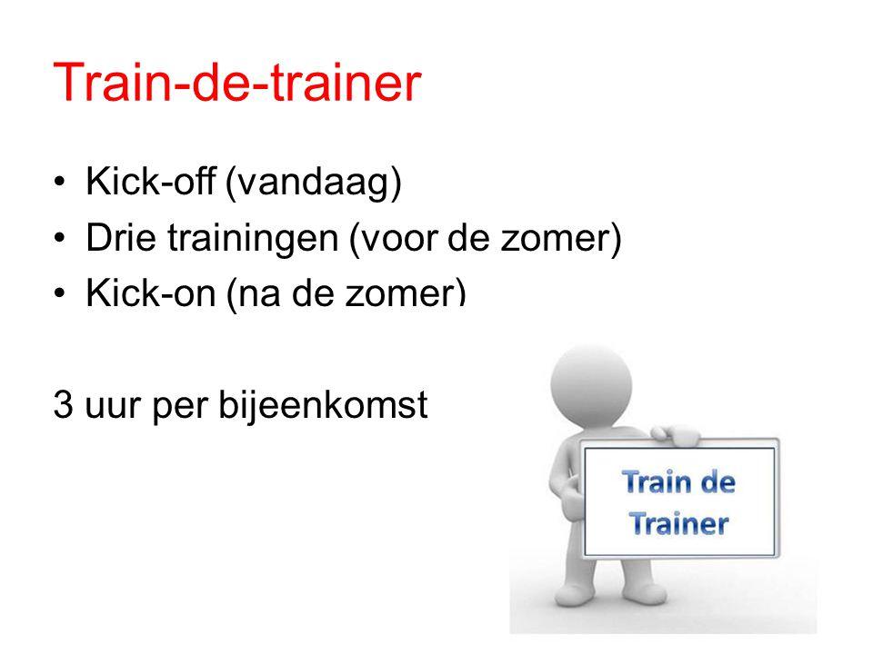 Train-de-trainer Kick-off (vandaag) Drie trainingen (voor de zomer) Kick-on (na de zomer) 3 uur per bijeenkomst