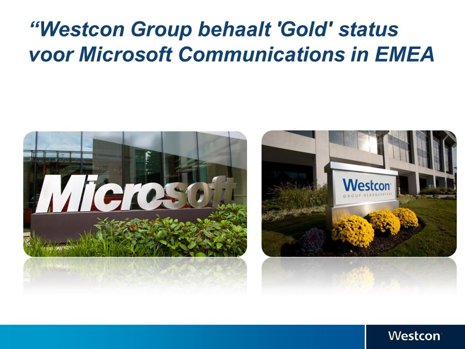 """Westcon Group behaalt 'Gold' status voor Microsoft Communications in EMEA"