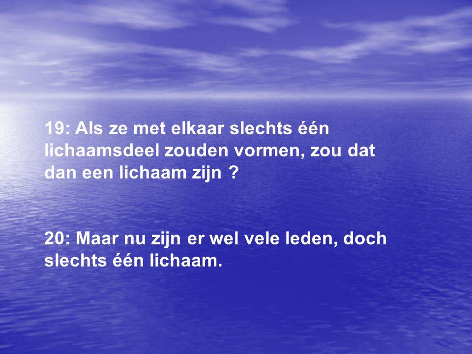 21: Het oog kan niet tegen de hand zeggen: ik heb je niet nodig en het hoofd kan dat evenmin tegen de voeten zeggen.