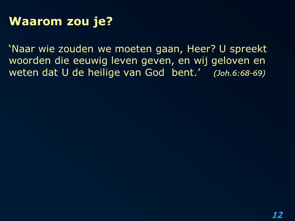 12 Waarom zou je? 'Naar wie zouden we moeten gaan, Heer? U spreekt woorden die eeuwig leven geven, en wij geloven en weten dat U de heilige van God be
