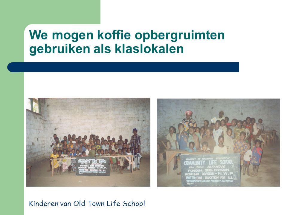We mogen koffie opbergruimten gebruiken als klaslokalen Kinderen van Old Town Life School