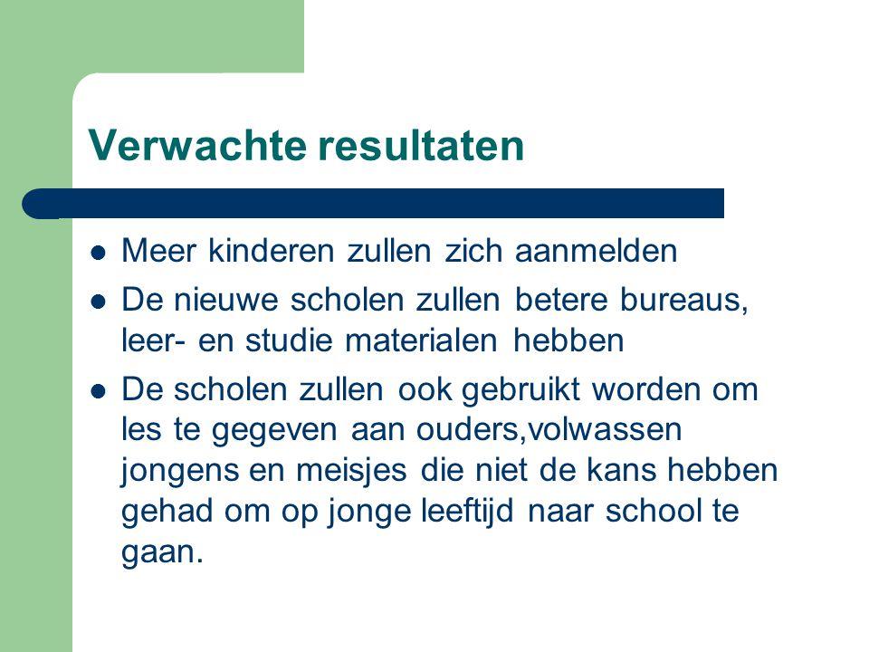 Verwachte resultaten Meer kinderen zullen zich aanmelden De nieuwe scholen zullen betere bureaus, leer- en studie materialen hebben De scholen zullen