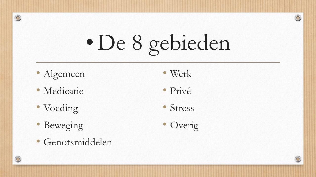 De 8 gebieden Algemeen Medicatie Voeding Beweging Genotsmiddelen Werk Privé Stress Overig