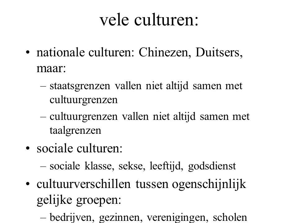 vele culturen: nationale culturen: Chinezen, Duitsers, maar: –staatsgrenzen vallen niet altijd samen met cultuurgrenzen –cultuurgrenzen vallen niet al