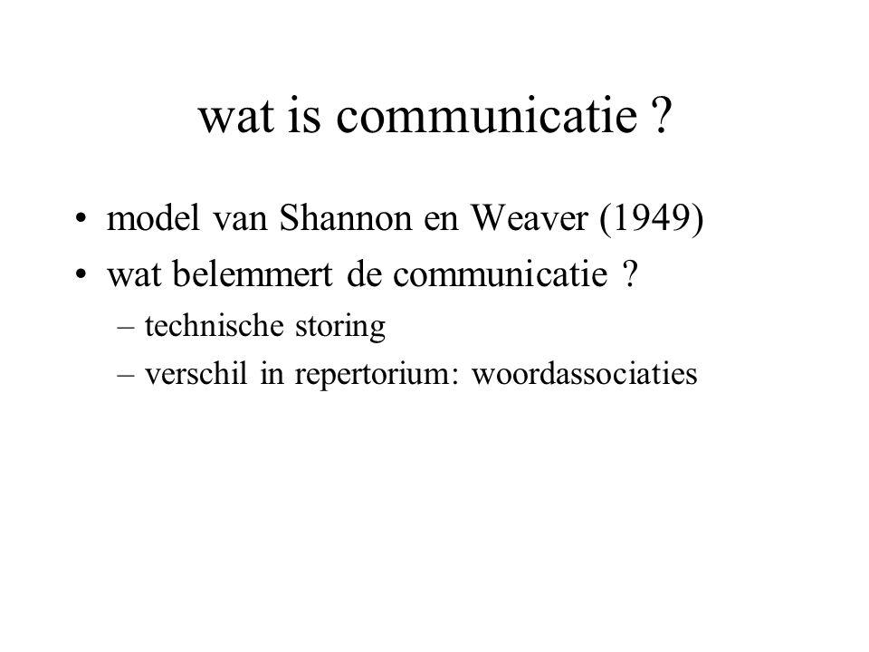 wat is communicatie ? model van Shannon en Weaver (1949) wat belemmert de communicatie ? –technische storing –verschil in repertorium: woordassociatie