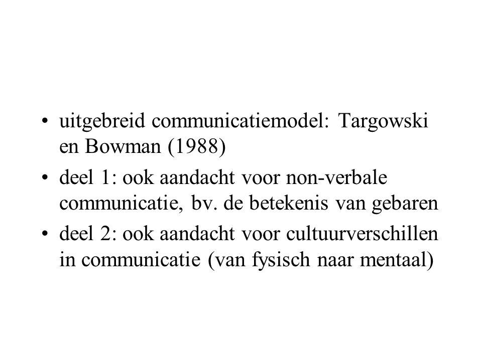 uitgebreid communicatiemodel: Targowski en Bowman (1988) deel 1: ook aandacht voor non-verbale communicatie, bv. de betekenis van gebaren deel 2: ook