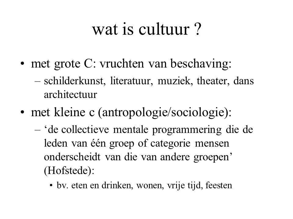 wat is cultuur ? met grote C: vruchten van beschaving: –schilderkunst, literatuur, muziek, theater, dans architectuur met kleine c (antropologie/socio