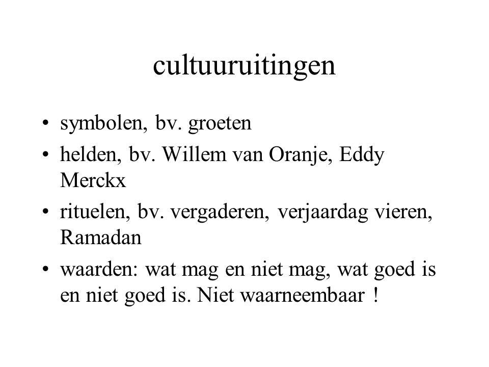 cultuuruitingen symbolen, bv. groeten helden, bv. Willem van Oranje, Eddy Merckx rituelen, bv. vergaderen, verjaardag vieren, Ramadan waarden: wat mag
