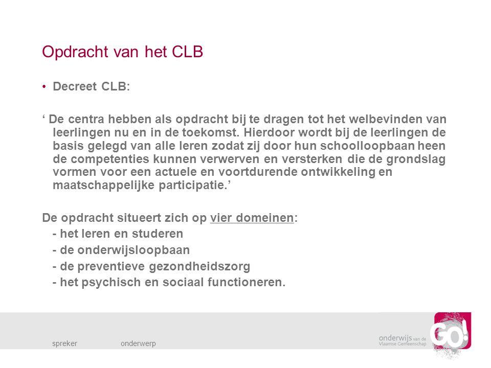 Opdracht van het CLB Decreet CLB: ' De centra hebben als opdracht bij te dragen tot het welbevinden van leerlingen nu en in de toekomst.