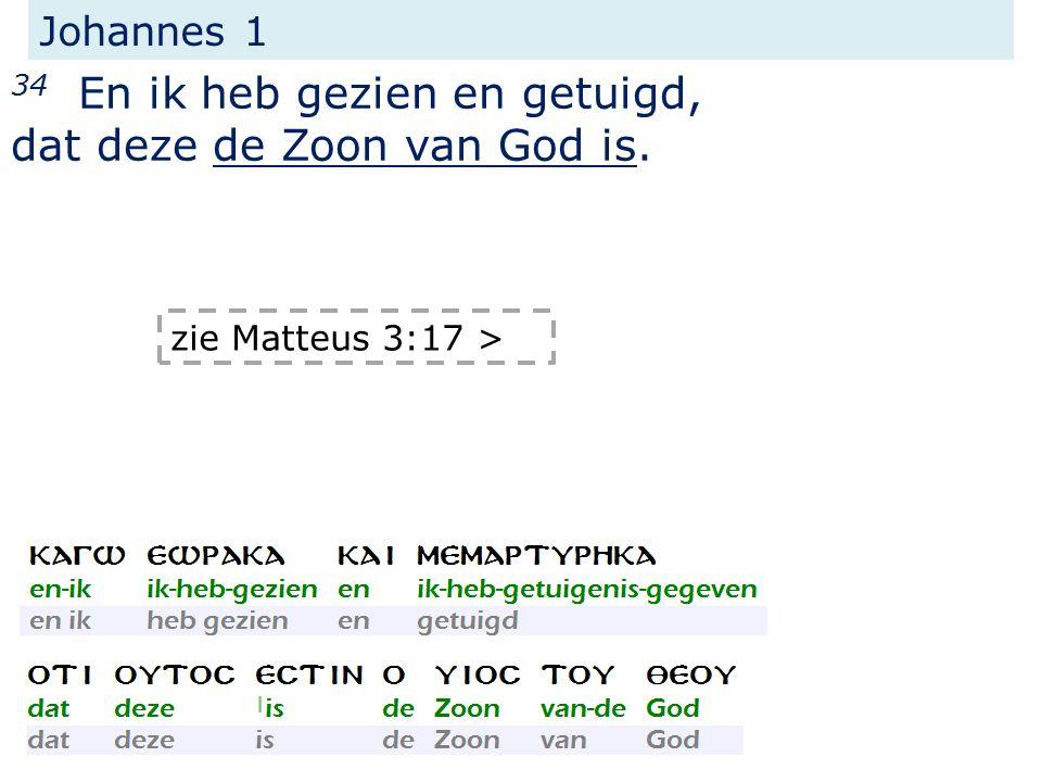 Johannes 1 34 En ik heb gezien en getuigd, dat deze de Zoon van God is. zie Matteus 3:17 >