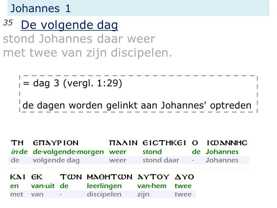 Johannes 1 35 De volgende dag stond Johannes daar weer met twee van zijn discipelen.