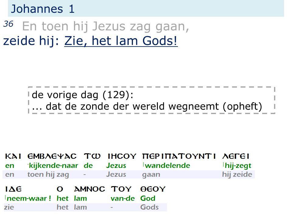 Johannes 1 36 En toen hij Jezus zag gaan, zeide hij: Zie, het lam Gods.