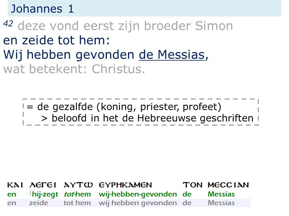 Johannes 1 42 deze vond eerst zijn broeder Simon en zeide tot hem: Wij hebben gevonden de Messias, wat betekent: Christus.