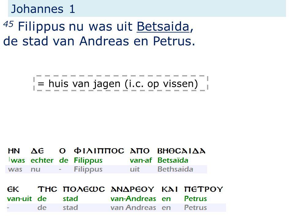 Johannes 1 45 Filippus nu was uit Betsaida, de stad van Andreas en Petrus.