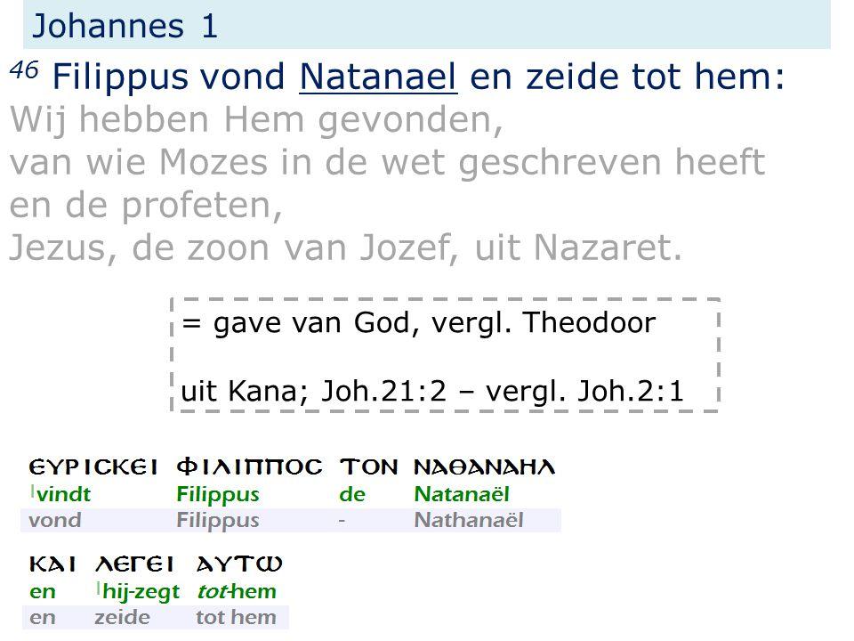 Johannes 1 46 Filippus vond Natanael en zeide tot hem: Wij hebben Hem gevonden, van wie Mozes in de wet geschreven heeft en de profeten, Jezus, de zoon van Jozef, uit Nazaret.