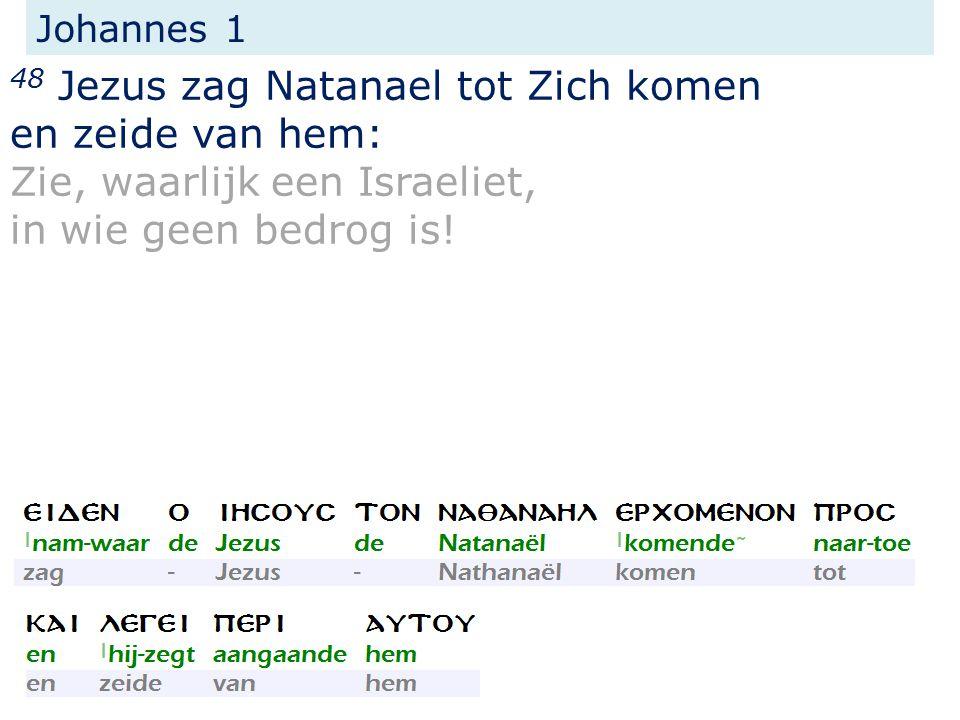 Johannes 1 48 Jezus zag Natanael tot Zich komen en zeide van hem: Zie, waarlijk een Israeliet, in wie geen bedrog is!
