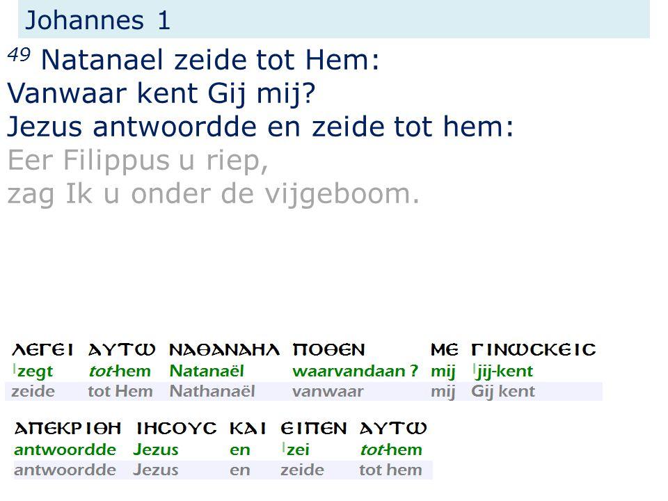 Johannes 1 49 Natanael zeide tot Hem: Vanwaar kent Gij mij.