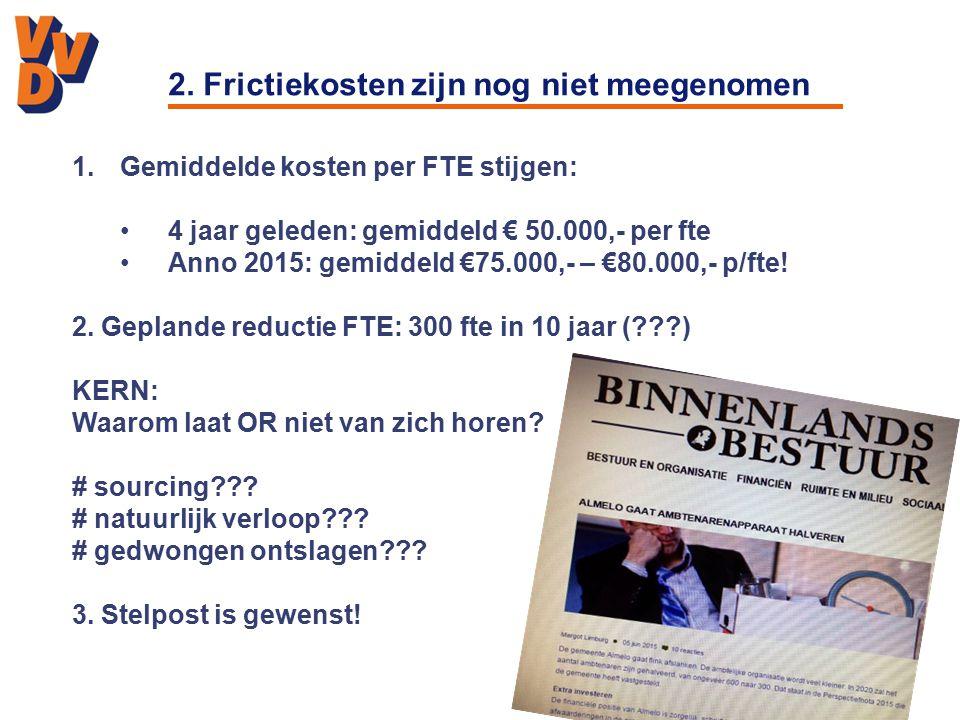 2. Frictiekosten zijn nog niet meegenomen 1.Gemiddelde kosten per FTE stijgen: 4 jaar geleden: gemiddeld € 50.000,- per fte Anno 2015: gemiddeld €75.0