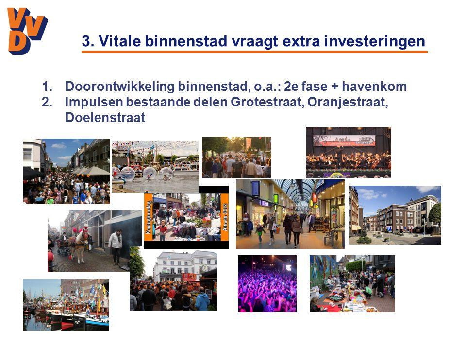 3. Vitale binnenstad vraagt extra investeringen 1.Doorontwikkeling binnenstad, o.a.: 2e fase + havenkom 2.Impulsen bestaande delen Grotestraat, Oranje