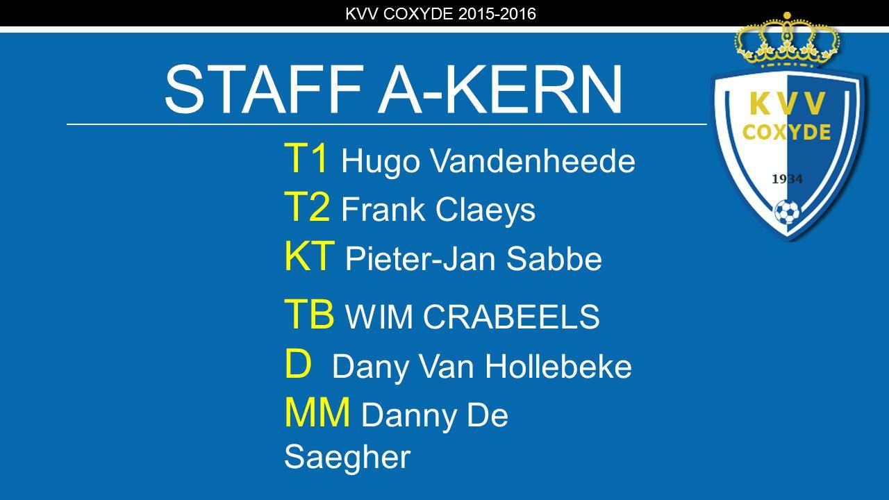 KV STAFF A-KERN T1 Hugo Vandenheede T2 Frank Claeys KT Pieter-Jan Sabbe TB WIM CRABEELS D Dany Van Hollebeke MM Danny De Saegher KVV COXYDE 2015-2016
