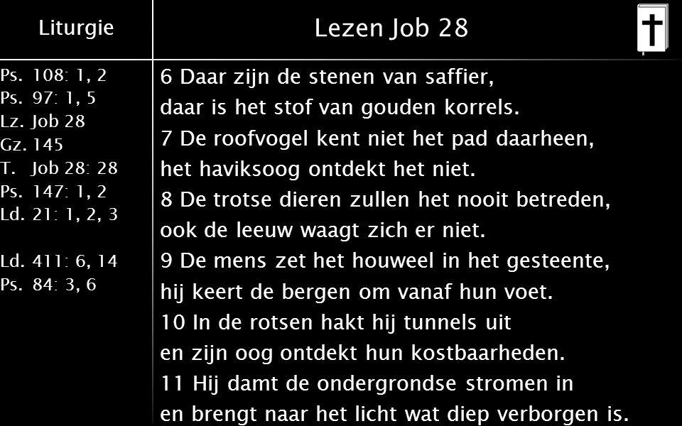 Liturgie Ps.108: 1, 2 Ps.97: 1, 5 Lz.Job 28 Gz.145 T.Job 28: 28 Ps.147: 1, 2 Ld.21: 1, 2, 3 Ld.411: 6, 14 Ps.84: 3, 6 Lezen Job 28 6 Daar zijn de stenen van saffier, daar is het stof van gouden korrels.