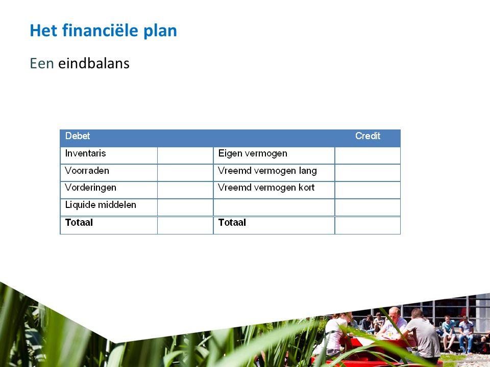 Het financiële plan Een eindbalans