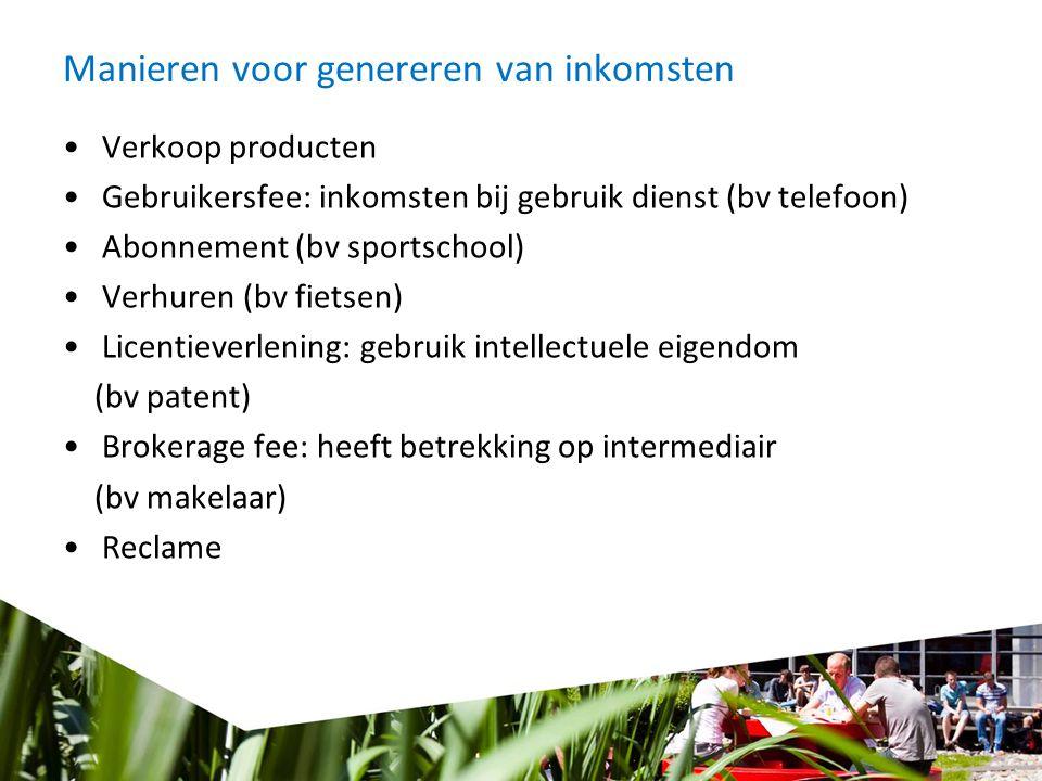 Manieren voor genereren van inkomsten Verkoop producten Gebruikersfee: inkomsten bij gebruik dienst (bv telefoon) Abonnement (bv sportschool) Verhuren