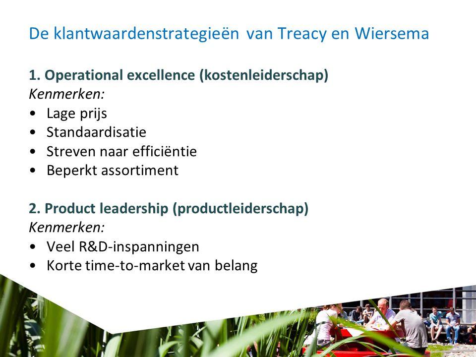 De klantwaardenstrategieën van Treacy en Wiersema 1. Operational excellence (kostenleiderschap) Kenmerken: Lage prijs Standaardisatie Streven naar eff