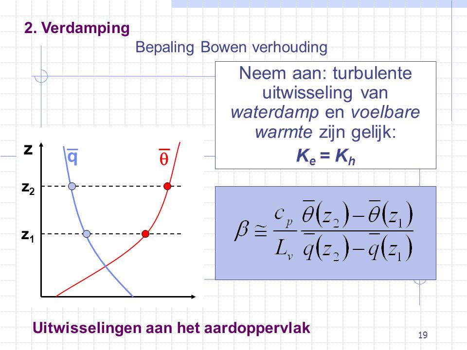 19 Bepaling Bowen verhouding Neem aan: turbulente uitwisseling van waterdamp en voelbare warmte zijn gelijk: K e = K h Uitwisselingen aan het aardoppervlak z z2z2 z1z1 q  2.