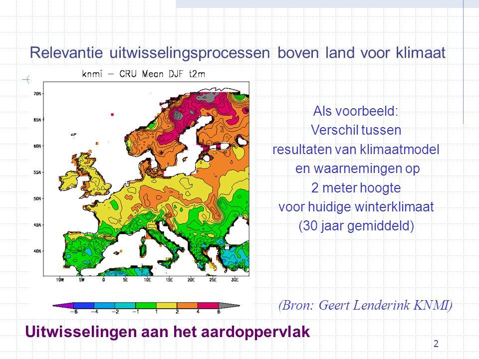2 Als voorbeeld: Verschil tussen resultaten van klimaatmodel en waarnemingen op 2 meter hoogte voor huidige winterklimaat (30 jaar gemiddeld) (Bron: Geert Lenderink KNMI) Relevantie uitwisselingsprocessen boven land voor klimaat Uitwisselingen aan het aardoppervlak