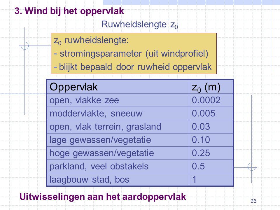 26 Ruwheidslengte z 0 z 0 ruwheidslengte: - stromingsparameter (uit windprofiel) - blijkt bepaald door ruwheid oppervlak Oppervlakz 0 (m) open, vlakke zee0.0002 moddervlakte, sneeuw0.005 open, vlak terrein, grasland0.03 lage gewassen/vegetatie0.10 hoge gewassen/vegetatie0.25 parkland, veel obstakels0.5 laagbouw stad, bos1 Uitwisselingen aan het aardoppervlak 3.